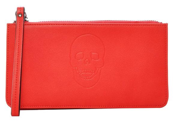 Skully Red Vegan Leather Skull Handle Wallet