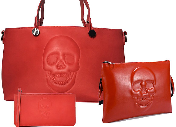 Skully Red Vegan Leather Skull Handbag, Crossbody, Wallet Set