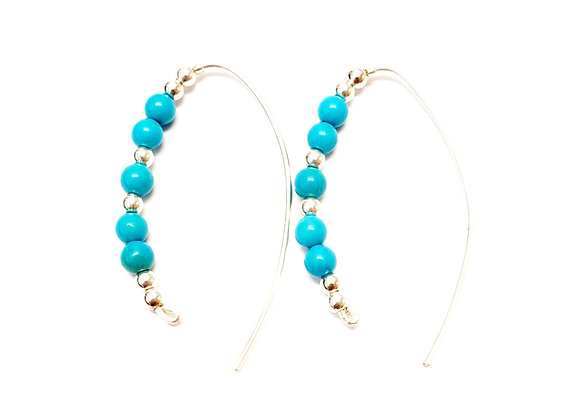 Turquoise Slider Hoop Earrings