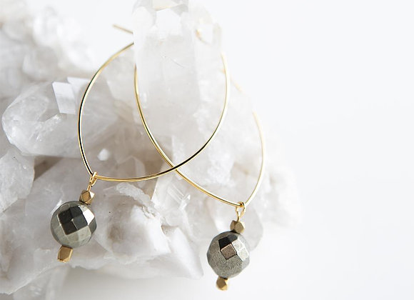 Lenny Gemstone Earrings - Pyrite