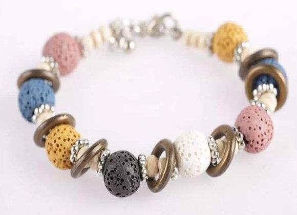 Multi Color Lava Stone Essential Oil Bracelet