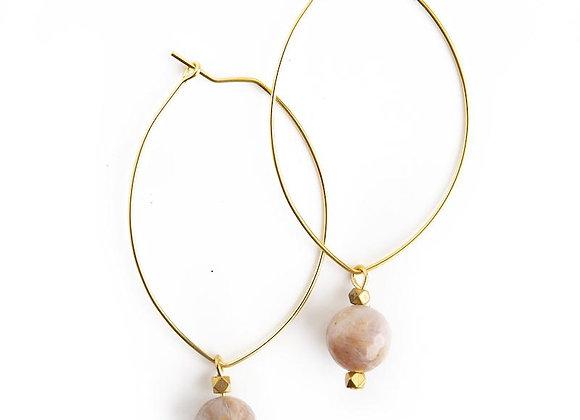 Lenny Gemstone Earrings - Rainbow Agate
