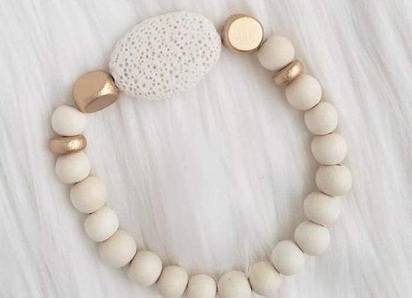 White Oval Lava Stone Essential Oil Bracelet