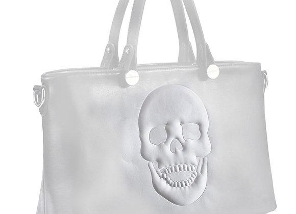 Skully White Vegan Leather Skull Handbag