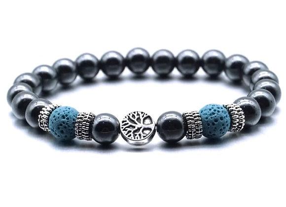 Blue Tree of Life Lava Stone Essential Oil Bracelet