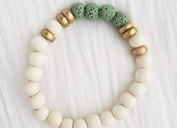 Mint Green & White Lava Stone Essential Oil Bracelet