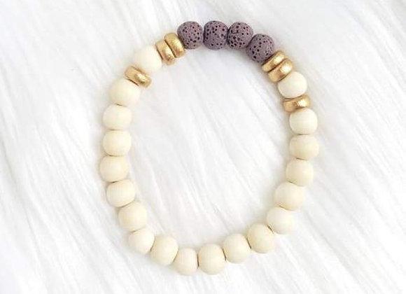 Purple & White Lava Stone Essential Oil Bracelet