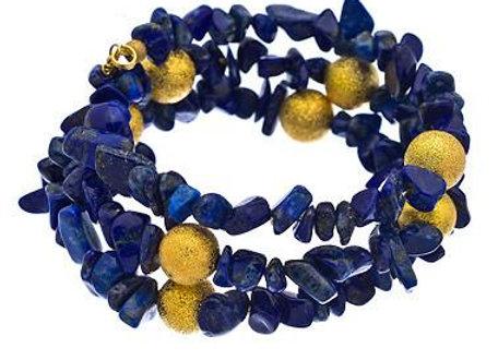 Lapis Chip Gemstone Wrap Bracelet