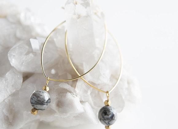 Lenny Gemstone Earrings - Picture Jasper