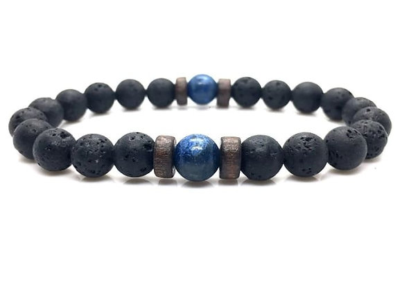 Wood and Lava Stone Essential Oil Bracelet (Blue)