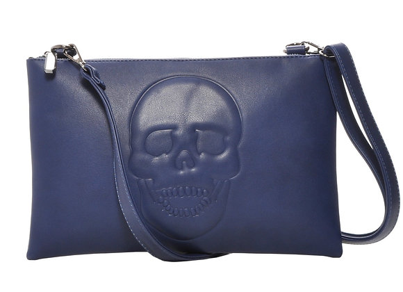 Skully Blue Vegan Leather Skull Clutch Crossbody Handbag