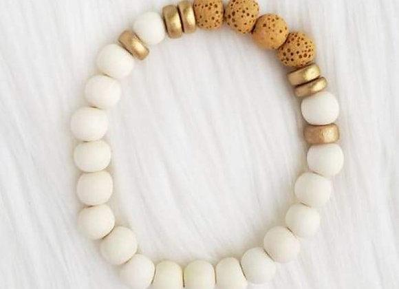 Yellow & White Lava Stone Essential Oil Bracelet