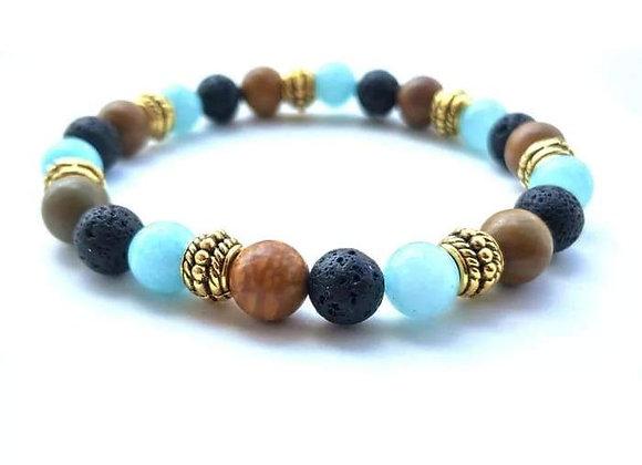 Gold Natural Stone Strand Black Lava Stone Essential Oil Bracelet