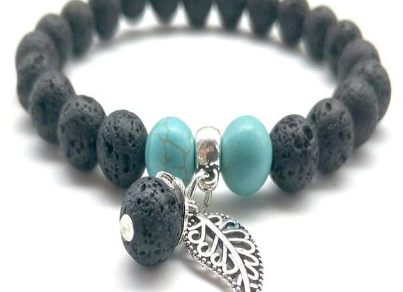 Black and Turquoise Feather Charm Lava Stone Essential Oil Bracelet