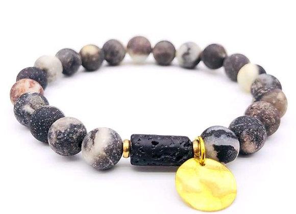 Sun Goddess (Gray) Lava Stone Essential Oil Bracelet