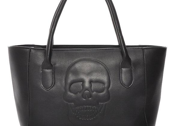 Skully Black Vegan Leather Skull Tote Handbag