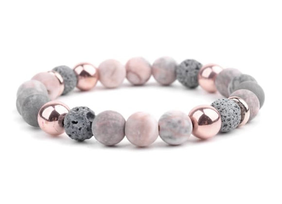 Agate Rose Gold Lava Stone Essential Oil Bracelet