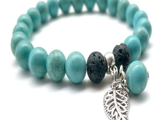 Turquoise and Black Feather Char Lava Stone Essential Oil Bracelet