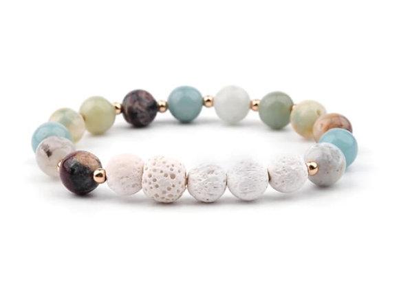 Amazonite and White 5 Lava Stone Essential Oil Bracelet