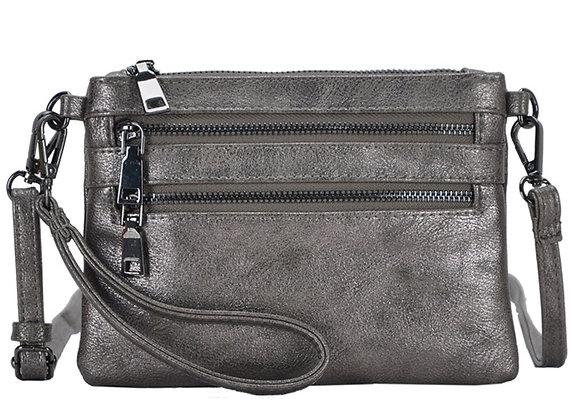 Tilly Pewter Vegan Leather Clutch Handbag