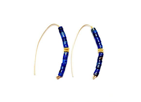 Slider Lapis Hoop Earrings