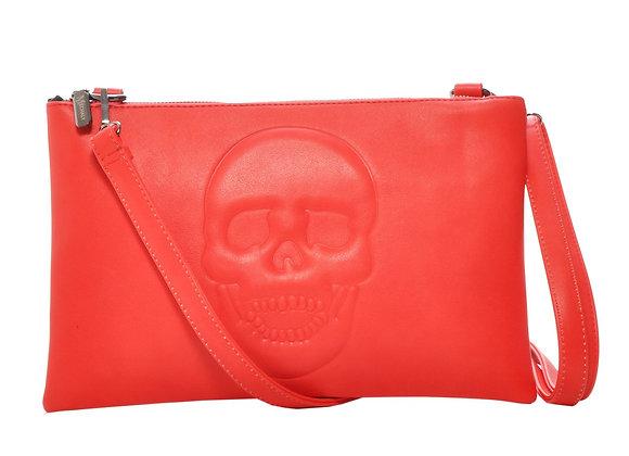 Skully Red Vegan Leather Skull Clutch Crossbody Handbag