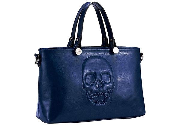 Skully Blue Vegan Leather Skull Handbag