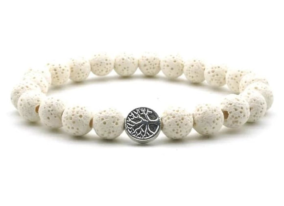White Lava Stone Tree of Life Essential Oil Bracelet