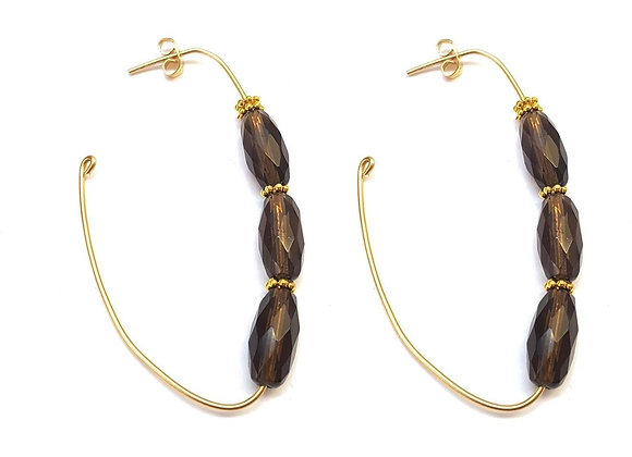 Crescent Gemstone Hoop Earrings