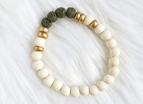 Olive Green & White Lava Stone Essential Oil Bracelet