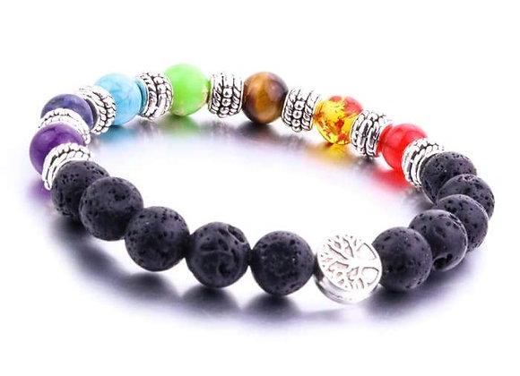 Seven Chakras Tree of Life Lava Stone Essential Oil Bracelet