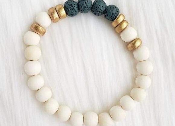 Dark Teal & White Lava Stone Essential Oil Bracelet
