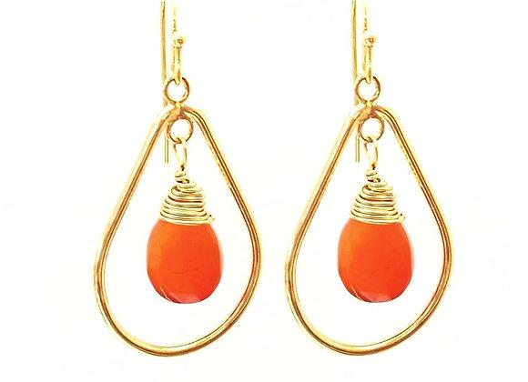 Orange Carnelian Drop Earrings