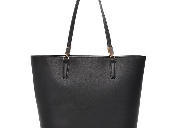 Sydney Black Vegan Leather Tote Handbag