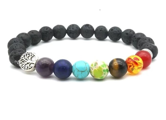 Seven Chakras Tree of Life Charms Lava Stone Essential Oil Bracelet