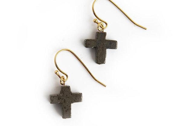 Cross Earrings - Pyrite
