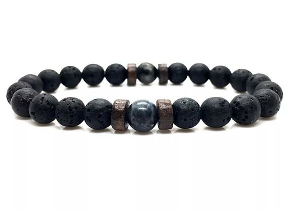 Wood and Lava Stone Essential Oil Bracelet - Gray