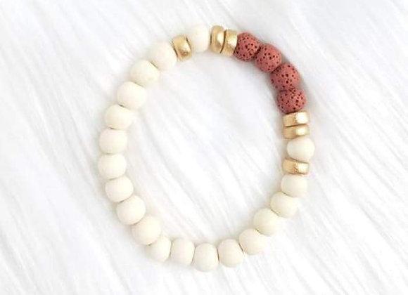 Red & White Lava Stone Essential Oil Bracelet