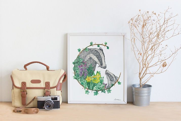 Mother & Baby Badger Drypoint print