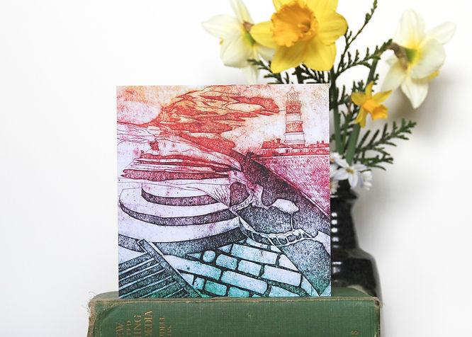 Happisburgh Collagraph greetings card