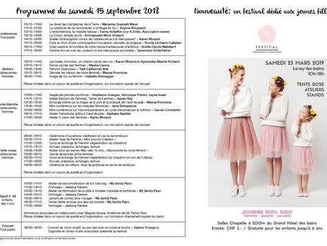 Festival au Féminin 15-16 septembre 2018 à Chamoson !
