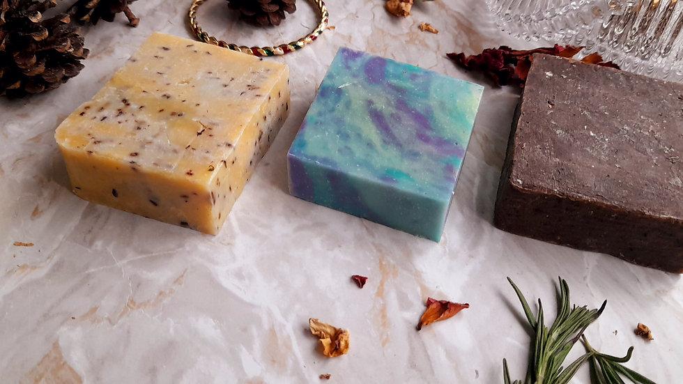 Natural Handmade Vegan Soap Set 3 x120g Psoriasis & Eczema Relief