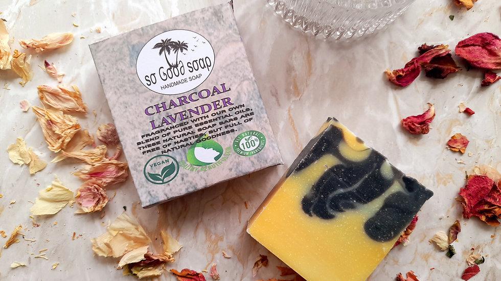 Handmade Charcoal & Lavender Oil  Soap Bar 110g