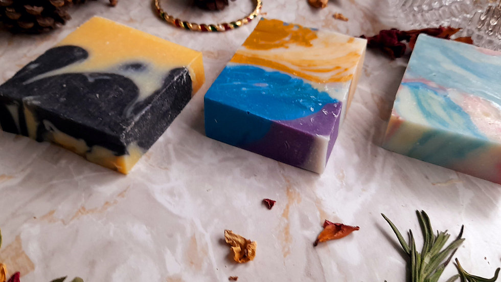 Natural Handmade Vegan Soap Set 3 x120g Lavender Collection