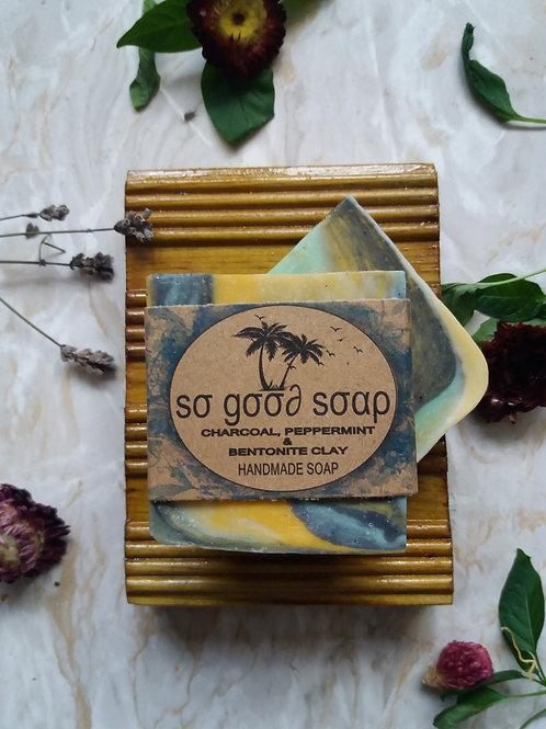 Handmade Natural Soap Bar Charcoal ,Peppermint & Bentonite Clay 120 g
