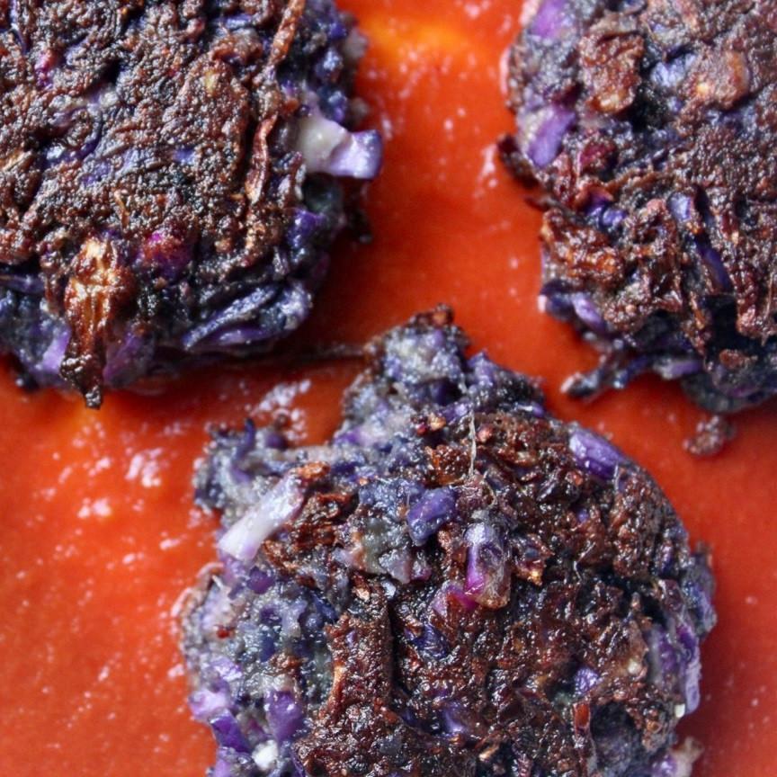 קציצות ירק טבעוניות קאבאג' קופתא כרוב סגול מתכון קל ומוצלח צמחוני