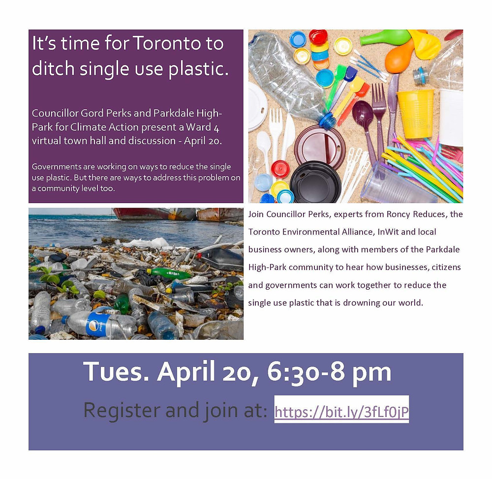 Virtual town hall flyer for April 20 with Gord Perks