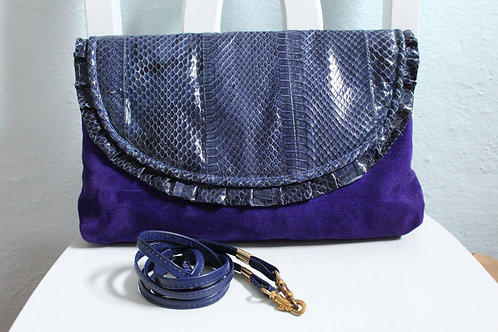 80s Purple Faux Snakeskin Purse