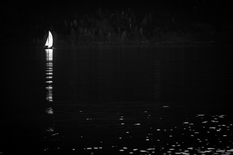 Segelschiff, See, einsam