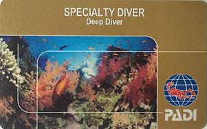 PADI Deep Diver Certification Card